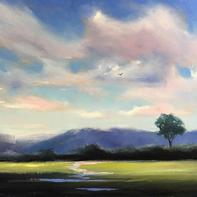 Landscape Painting in Water-Soluble Oil Paint, Saturday, December 14